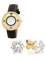 Jewelry - Women's Floating Crystal Watch and Earring Set