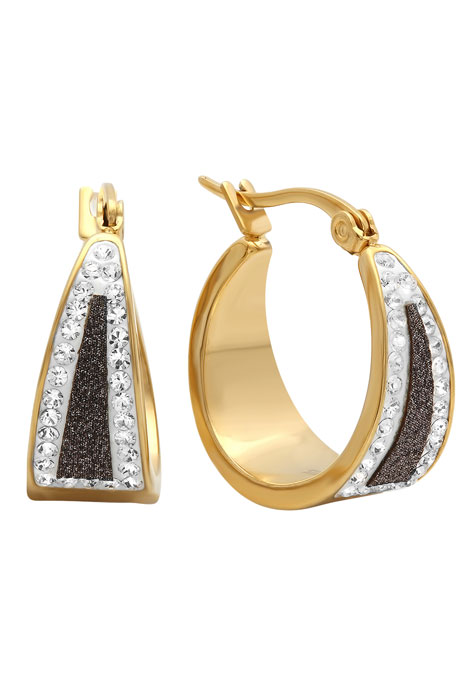 Black Diamond Dust Hoop Earrings - View 1