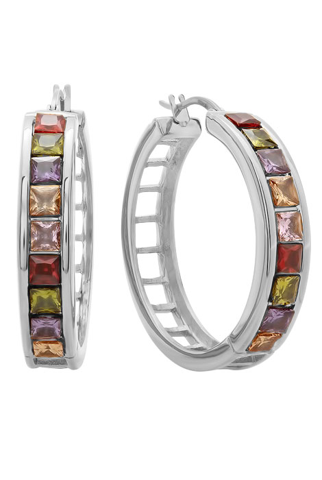 Multi-Colored Hoop Earrings - View 1