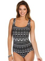 Patterned Swimwear - Longitude® Nazca Double X Back Tank Suit