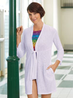 Swim - Sheer Tie Front Beach Cover Up