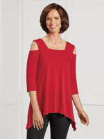 Tops - SlimU™ Cold Shoulder Tunic