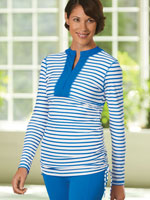 Tops - Cabana Life® Striped Side Rushed Rash Guard