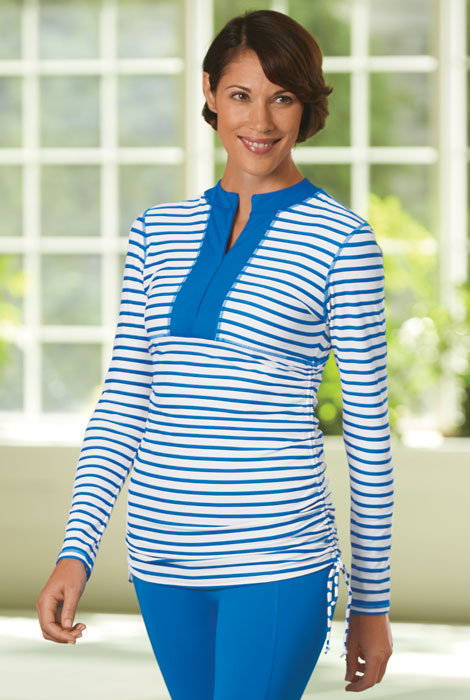 Cabana Life® Striped Side Rushed Rash Guard