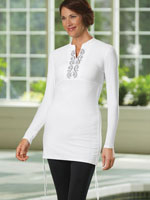 Tops - Cabana Life® Embroidered Side Rushed Rash Guard