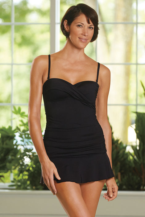 Kenneth Cole® Skirted Ruched Bandeau - View 1