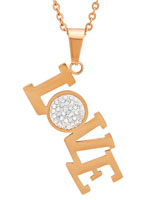 Jewelry - Rose Gold and CZ Love Pendant Necklace