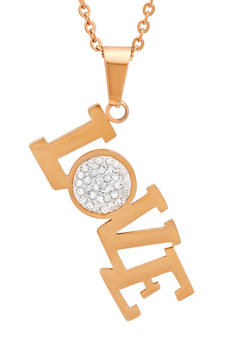 Rose Gold and CZ Love Pendant Necklace
