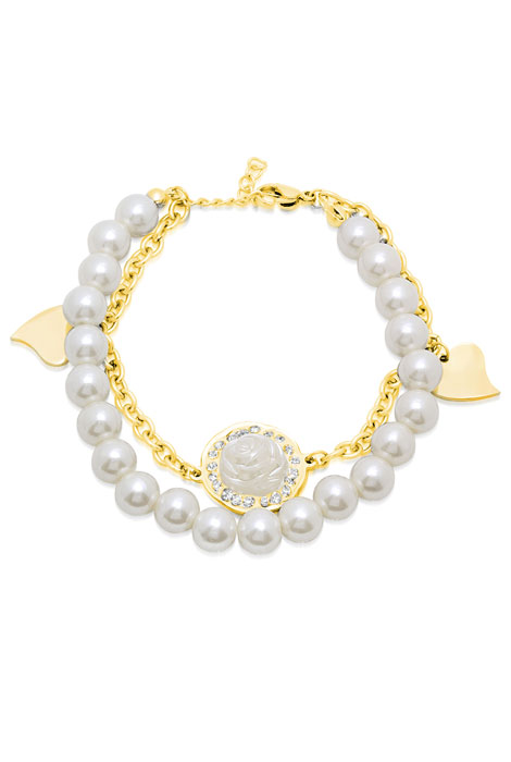Faux Pearl and CZ Rose and Heart Charm Bracelet