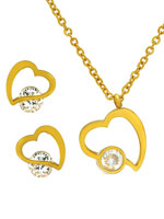 Jewelry - CZ Heart Earring and Necklace Set