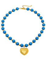 Jewelry - Blue Beaded Necklace with Heart Pendant