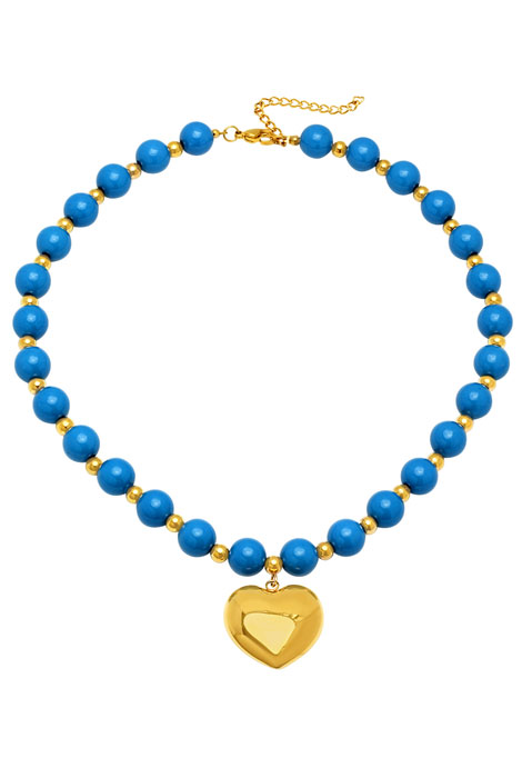 Blue Beaded Necklace with Heart Pendant - View 1