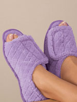 Sleepwear & Slippers - Quilted Chenille Adjustable Toe Slippers