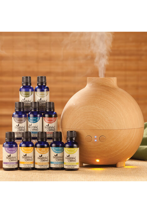 Healthful™ Naturals Premium Essential Oil Kit & 600 ml Diffuser - View 1