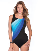 Clothing & Swim - Blue Colorblock High Neck Suit