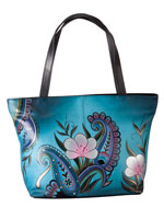 Handbags & Belts - Anna Anuschka™ Handpainted Leather Zip Tote