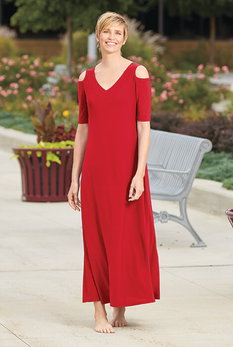 Cold Shoulder V-Neck Maxi Dress