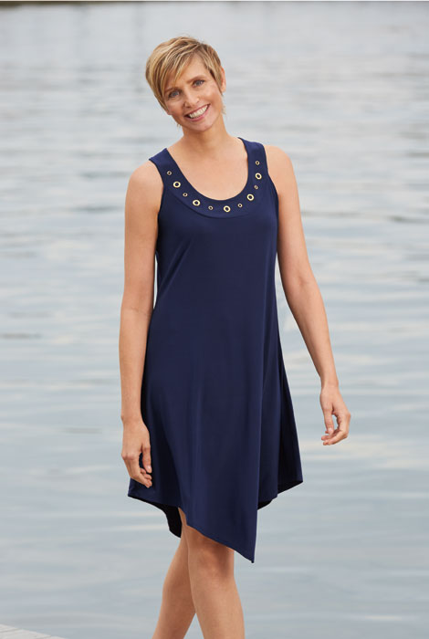 Sleeveless Tunic Dress with Grommets