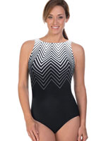 Fitness Swimwear - Reebok™ Electric Express High Neck One Piece Chlorine Resistant Swimsuit