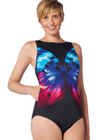 Fitness Swimwear - ActiveSpirit® Pocketz™ Butterfly Floral High Neck Tank Suit