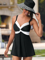 Swim - Carol Wior® Black & White Twisted Swimdress