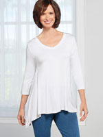 Tops - 3/4 Sleeve Shark Bite Tunic
