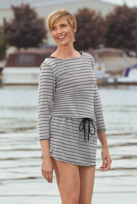 Anne Cole® Knit Crochet Boatneck Tunic Cover Up - View 1