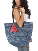 Handbags & Belts - Ghana Cotton Rug Tote with Tassel