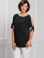 Tops - Lisette L™ Black & White Cold Shoulder Tie Sleeve Top