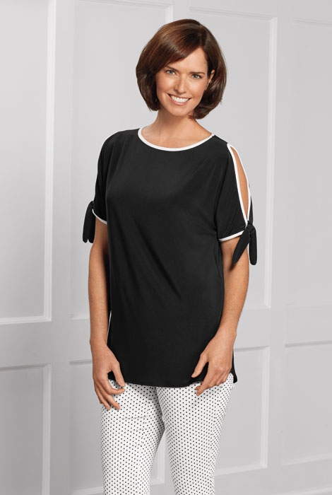 Lisette™ B&W Trim Knit Top with Sleeve Tie