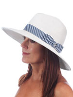 Hats, Scarves & Gloves - Scala® Braided Safari with Striped Ribbon Hat
