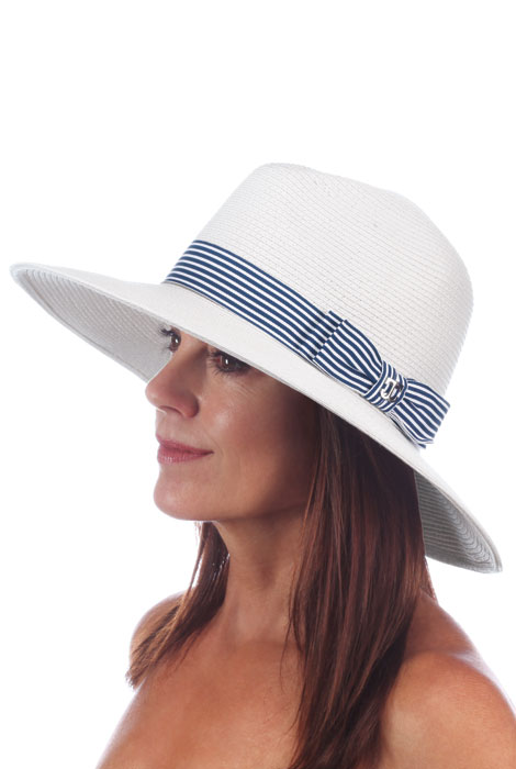 Scala® Braided Safari with Striped Ribbon Hat - View 1