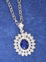 Jewelry - Simulated Sapphire and Diamond Necklace