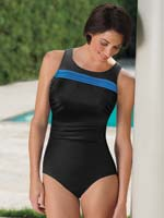 Swim - SlimU™ Pleated High Neck Tank Suit