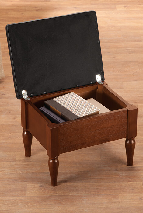 Faux Leather Wooden Foot Rest with Storage by OakRidge™