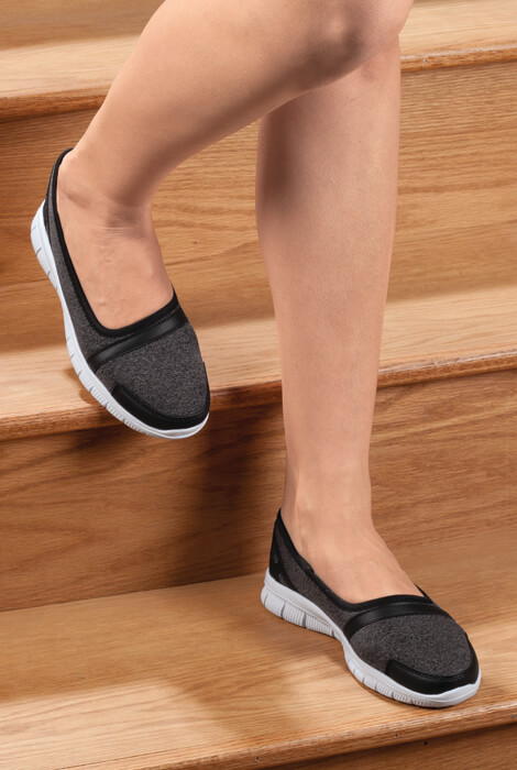 Healthy Steps™ Feather Lite Slip-On Shoes Feel like you're walking on air with our exclusive Healthy StepsTM Feather Lite slip-on shoes. Weighing just a few ounces, these walking shoes slide on and off with ease and won't weigh you down on the go. Fashion-forward casual style looks great with everything from active wear to jeans, making this versatile lightweight footwear a natural choice for home and travel. Non-slip EVA waffle sole adds skid-free confidence to your step. Non slip shoes available in tan, charcoal or grey/black. Specify size: 6-11 (for half sizes, order next size up). Feather Lite slip-on shoes.Non-slip EVA waffle sole adds skid-free confidence to your step.The grey/black color choice is EVA 20% and 80% PU Leather. Choose from whole sizes 6-11; for half sizes, order next size up.