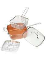 Household & Gifts - 4-Pc. Square Copper Cookware Pan Set