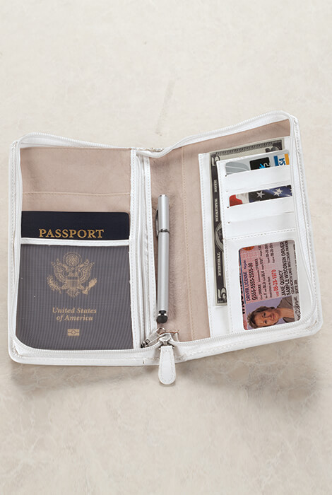 Zippered White Travel Ticket Case