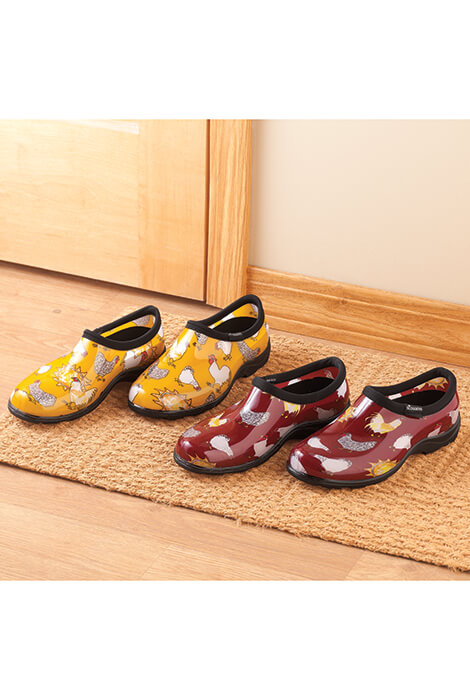 Sloggers Chicken Print Waterproof Garden Shoes Whether working in the garden, walking in the rain or just running errands, these waterproof shoes keep feet warm and dry ... in strut-worthy, chicken-loving style! Made with pride in the USA, Sloggers slip-on shoes feature  All-Day-Comfort  insoles, a signature deep lug sole for sure traction on wet, muddy or slushy surfaces, and a soft binding around the top for added comfort. Slipping on and off easily, the waterproof garden shoes are made from 100% recyclable, medical-grade PVC, so they feel great on your feet, produce no odor, hose off for quick cleaning--offering years of comfy wear and compliments galore! Specify women's size: 7, 8, 9, 10. Slips on and off easilyWaterproofMade from 100% recyclable/medical-grade PVC/li> Produce no odorHoses off for quick cleaning