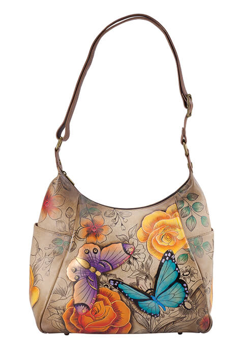 Anna by Anuschka™ Handpainted Leather Hobo Bag
