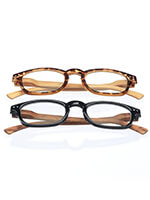 New - Reading Glasses with Wood Grain Bows, 2 Pair