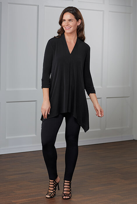 slimU™ Soft Shawl V Neck Knit Tunic Pant Set