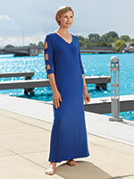 slimU™ - SlimU™ Lattice Sleeve Maxi Dress