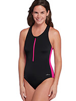 Fitness Swimwear - Aquashape® by Dolphin® One Piece Zip Front Lap Suit