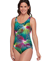 Fitness Swimwear - Mambo Print Aquashape® Moderate Scoop Back Lap Suit by Dolphin®