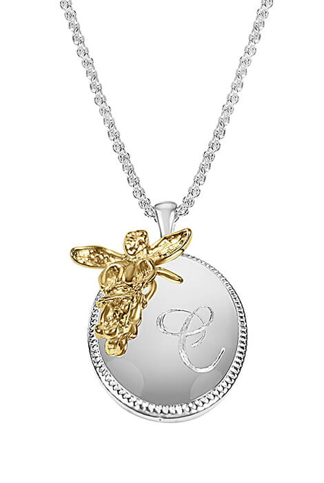 Personalized Oval Pendant with Angel Accent
