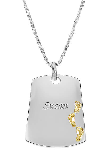 Personalized Footprints Dog Tag Necklace - View 1