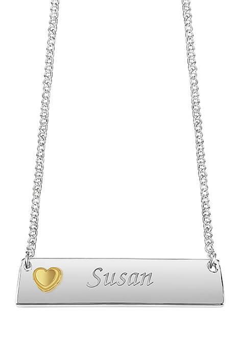 Personalized Horizontal Bar Necklace with Heart - View 1