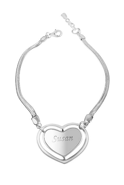 Personalized Sterling Silver Heart Bracelet - View 1