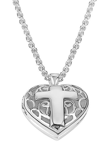 Personalized Filigree Heart Locket with Cross